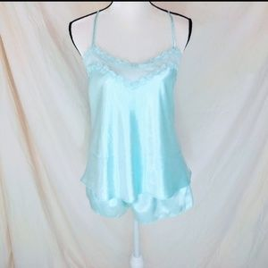 💞 NWOT Light Blue Satin Top and Shorts Lingerie